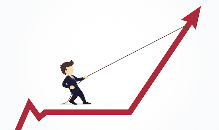 clipart businessman with a lasso wrapped around the top of the inclined bar graph arrow